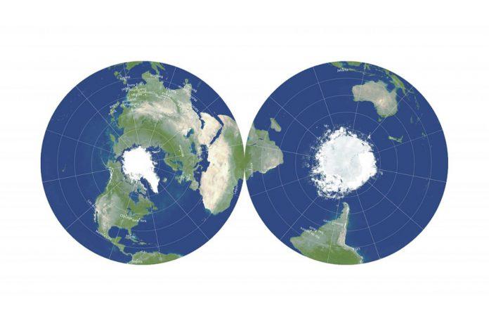 Na ovoj novoj, dvostranoj mapi, Antarktik i Australija, desno, mnogo su tačnije predstavljeni, a udaljenost je lakše izmeriti. Ilustracija: Ričard Got, Robert Vanderbej i Dejvid Goldberg