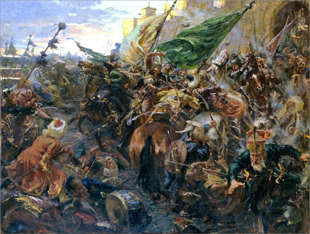 Hunjadijev juriš iz beogradske tvrđave 1456. (Franc Ajzenhut, ulje na platnu)